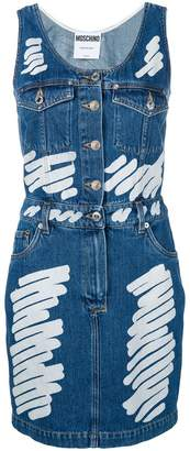 Moschino painted stripe denim dress