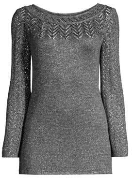 St. John Eyelet Chevron Metallic Knit Sweater