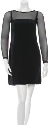 Vera Wang Shift Mesh-Accented Dress $130 thestylecure.com