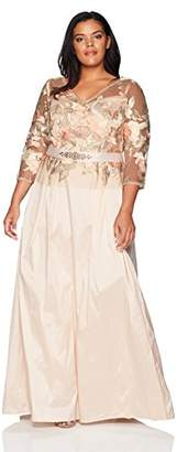 Adrianna Papell Women's Floral Embroidered Long Dress with Taffeta Skirt Plus Size