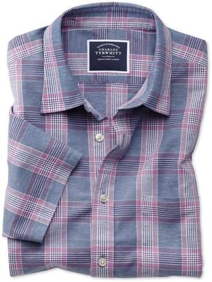 Charles Tyrwhitt Slim Fit Blue and Purple Check Cotton Linen Short Sleeve Cotton Linen Mix Casual Shirt Single Cuff Size Large