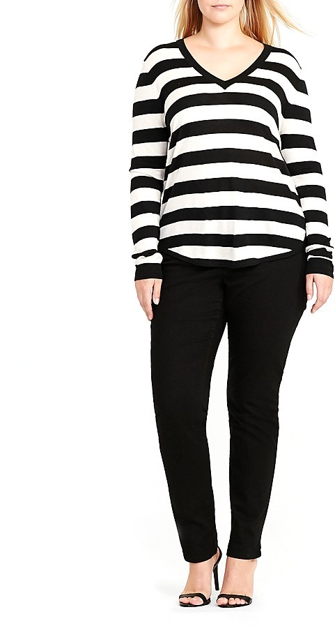 Lauren Ralph LaurenLauren Ralph Lauren Plus V-Neck High Low Sweater
