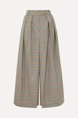 Awake Pleated Checked Wool Skirt - Brown