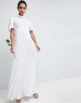 cbd6f8f82e Asos Edition EDITION Wedding Maxi Dress in Soft Jacquard with Flutter Sleeve