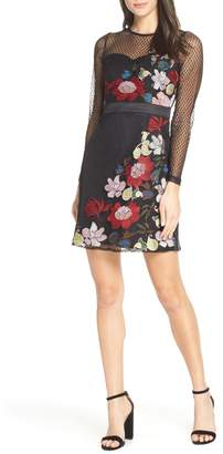 Foxiedox Lana Embroidered Mesh Cocktail Dress