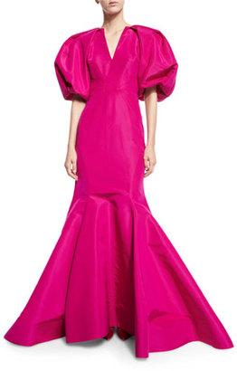 Zac Posen Puffed-Sleeve Silk Faille Trumpet Gown, Magenta $5,990 thestylecure.com