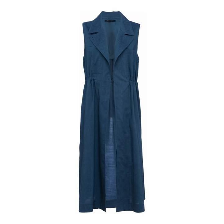 Blue Linen Sleeveless Jacket