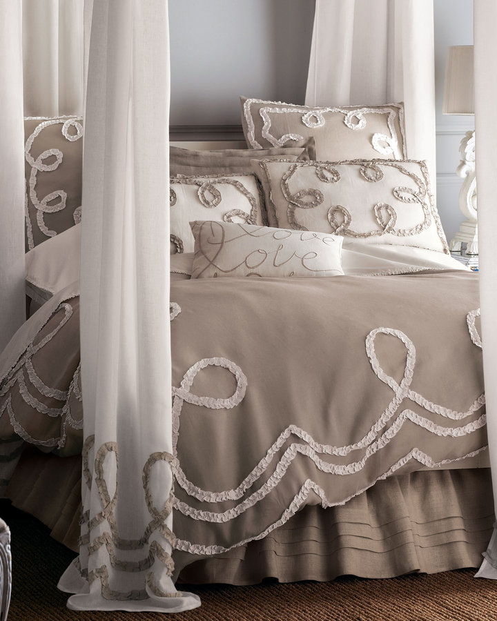 Horchow Ruched Ribbons Bed Linens Love You Embroidered Pillow