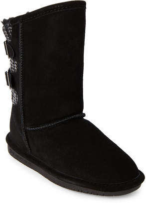 BearPaw Kids Girls) Black Boshie Real Fur Boots
