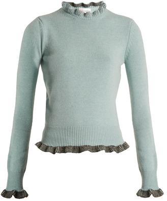 Ruffle-trimmed wool sweater