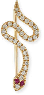 Sydney Evan Pavé Diamond & Ruby Snake Wire Earring