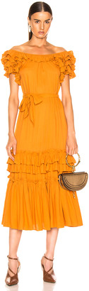 Marissa Webb Elio Crepe Midi Dress in Mojave Yellow | FWRD