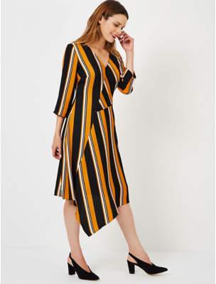 b4cf094437cb George Ochre Cut About Asymmetric Stripe Midi Dress