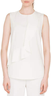 Akris Punto Round-Neck Sleeveless Ruffle-Front Silky Tech Blouse