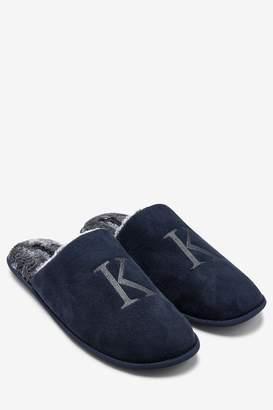 Next Mens Navy Extra Large Monogram Slippers - Blue