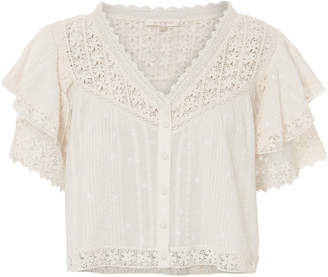 LoveShackFancy Caitlin Lace Top