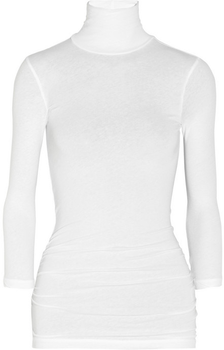 James Perse Ruched stretch-cotton turtleneck top