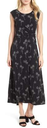 Chaus Floral Outlines Knot Front Maxi Dress