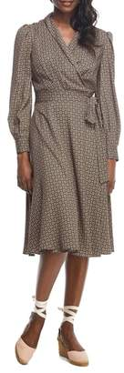 Gal Meets Glam Darcy Shawl Collar Faux Wrap Dress