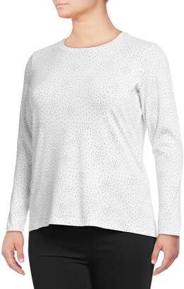 Lord & Taylor Plus Long-Sleeve Polka Dot Pullover
