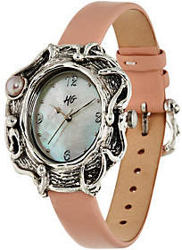 Hagit Sterling Silver Leather and Pearl Watch
