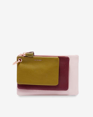 Ted Baker MARIOON Color block leather triple pouch bag