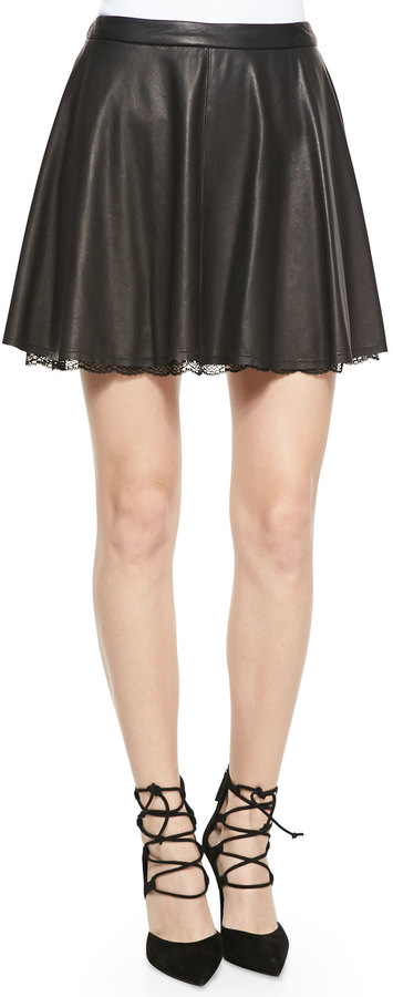 Alice + Olivia Blaise Leather Trapeze Skirt with Lace Hem