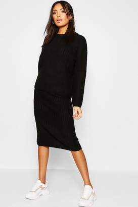 boohoo 2 Piece Knitted Set With Midi Length Skirt And Rib Jumper