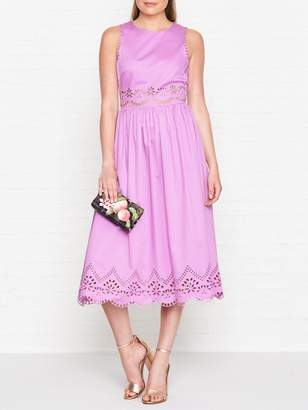 Ted Baker Viiolet A Line Midi Embroidered Dress - Pink