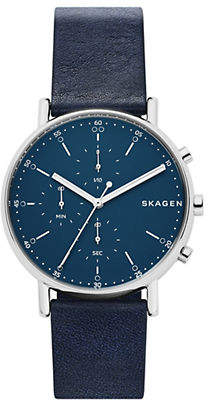 Skagen Signature Navy Blue Leather Chronograph Watch