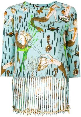 Loewe x Paula`s Ibiza mermaid print fringed T-shirt