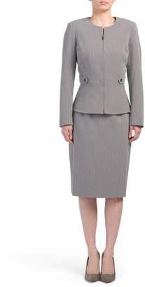 Pin Stripe Jacket & Skirt Suit Set