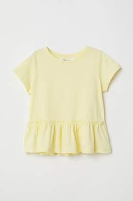 H&M Short-sleeved Flounced Top - Yellow