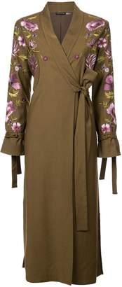 Josie Natori embroidered tie front duster coat