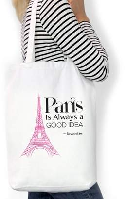 "IDEA Monogram Online Paris Is Always A Good Custom Cotton Tote Bag, Sizes 11"" x 14"" and 14.5"" x 18"""