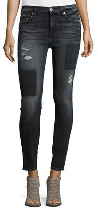 7 For All Mankind The Ankle Skinny Jeans w/Clean Patches, Black Shadow $229 thestylecure.com