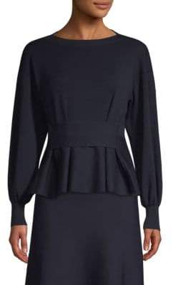 Agnona Merino Wool Peplum Knit Sweater