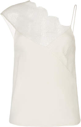 CHRISTOPHER ESBER Lace-Paneled Satin Top Size: 6