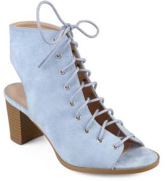 Brinley Co. Women's Faux Suede Lace-up High Heel Booties
