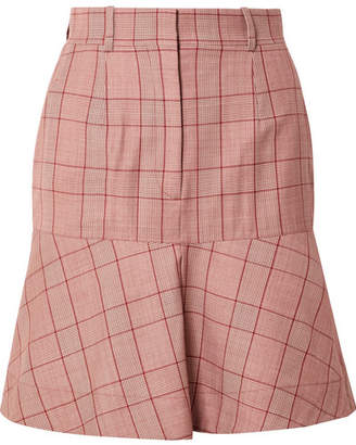 Calvin Klein Prince Of Wales Checked Wool Mini Skirt - Claret