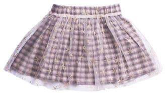 Imoga Woven Plaid Skirt w/ Mesh Star Overlay, Size 4-6