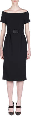 Fendi Off-The-Shoulder Belted Pencil Dress