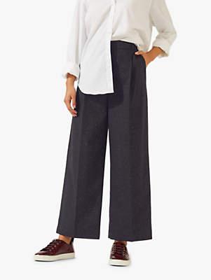 Pleat Crop Trousers, Black