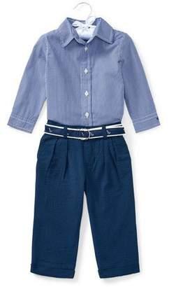 Ralph Lauren Button-Down Shirt w/ Broadcloth Pants, Size 9-24 Months