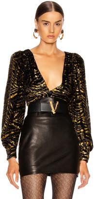 GRLFRND Moreen Blouse in Black and Gold | FWRD
