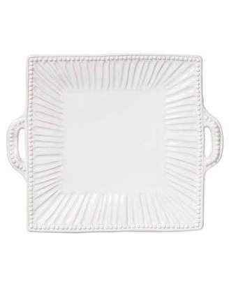 Vietri Incanto Stone Stripe Square Handled Platter, White