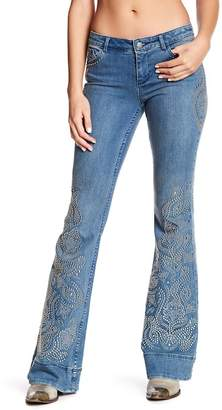 Alice + Olivia Ryley Low Rise Flare Studded Jeans