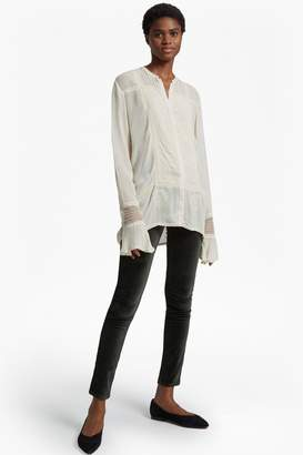 French Connenction Hillary Sheer Collarless Shirt