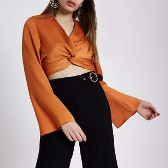 River Island Womens Orange long sleeve twist front crop top