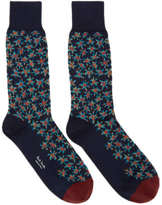 Paul Smith Navy Torn Floral Socks